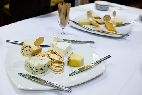 Plates of cheeses for reception