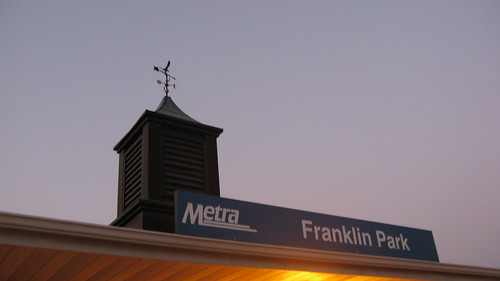Nightfall at the Franhlin Park Metra commuter rail station.  Franklin Park Illinois.  Wednsday, August 29th, 2012. by Eddie from Chicago
