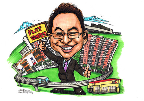 property agent caricature for Punggol