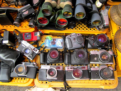 "Seoul Korea P'ungmul flea market area vintage Canon Pellix plus Pentax Kodak Minolta and other film cameras for sale ""Ridden Hard and Put Away Wet"""