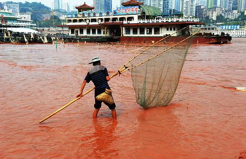 Пока чиновники ведут расследование причин происшествия, рыбак занимается своей обычной работой, как если бы ничего и не случилось.
