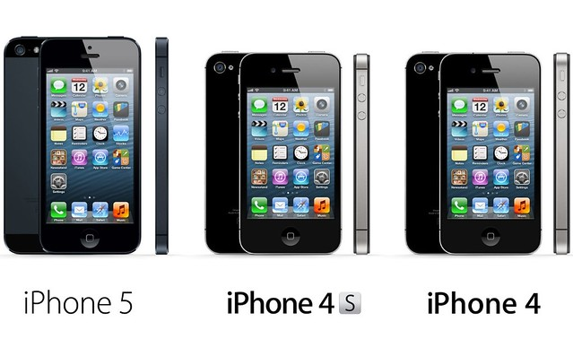 Compare iPhone 5 and 4s, 4