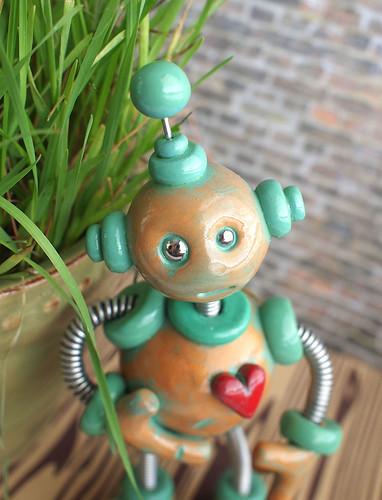 Paxe Patina Garden Robot Sculpture  by HerArtSheLoves