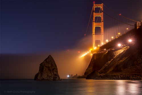 sanfrancisco fog night reflections stars nikon postcard landmark goldengatebridge fortbaker