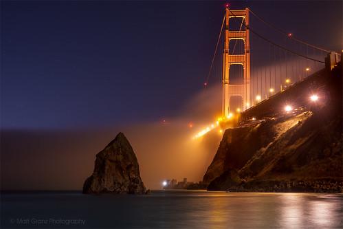 sanfrancisco fog night reflections stars nikon postcard landmark goldengatebridge fortbaker