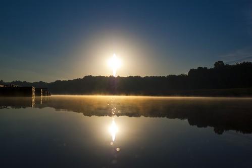 lake water fog sunrise dock akron