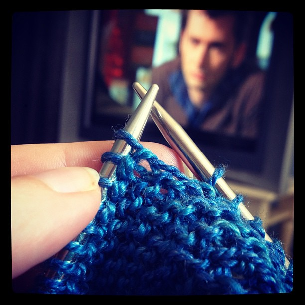 Knitting the TARDIS shawl with the Doctor.