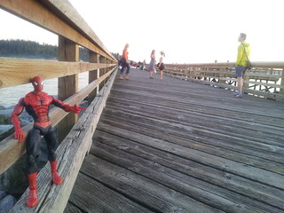 Spider-Man on a crabbing/fishing pier in West Vancouver