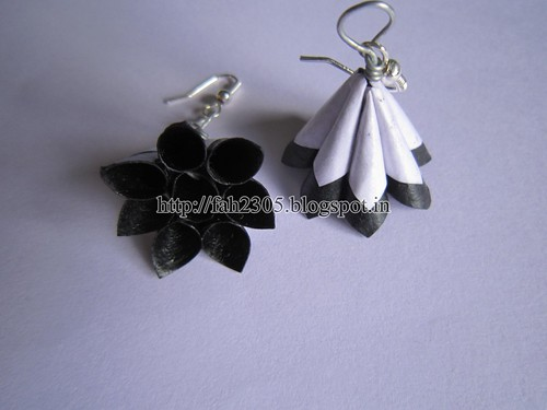 Handmade Jewelry - Paper Cone Earrings (2) by fah2305
