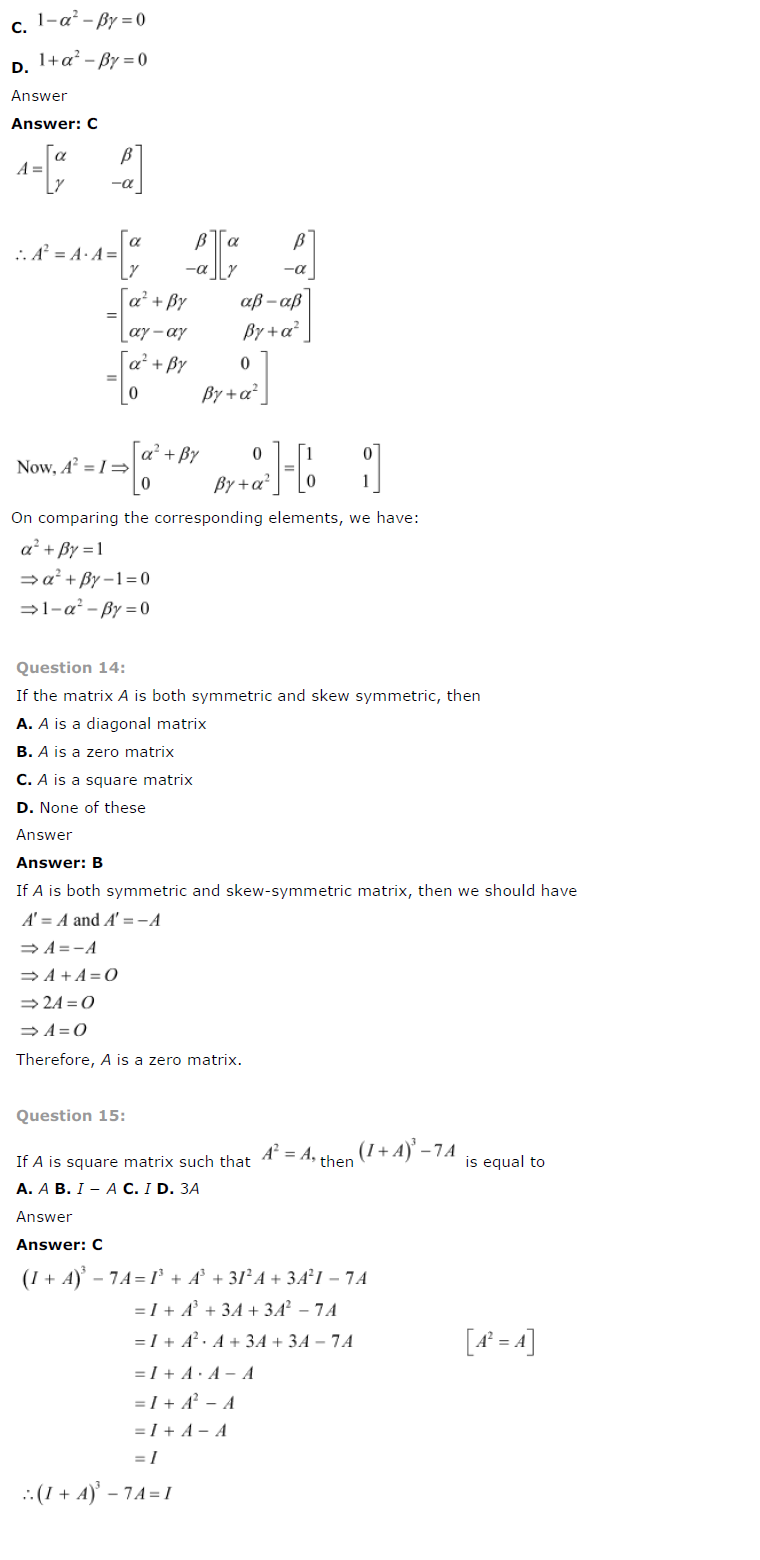 NCERT Solutions for Class 12 Maths Chapter 3 – Matrices