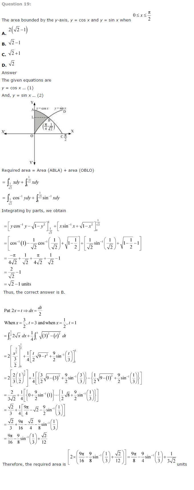 NCERT Solutions for Class 12th Maths Chapter 8 – Application