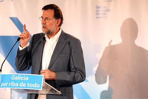 Mariano Rajoy en un mitin en Galicia