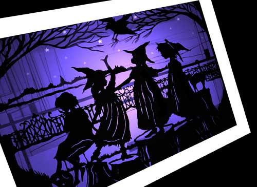halloween, paper cutting, raven
