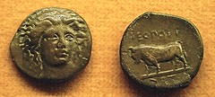 Bronze coin of Neapolis / Naples (end 5th century BC) with head of Siren Parthenope and bull with a human face (=Achelous) - Inscription NEOΠOΛI - Naples Archaeological Museum