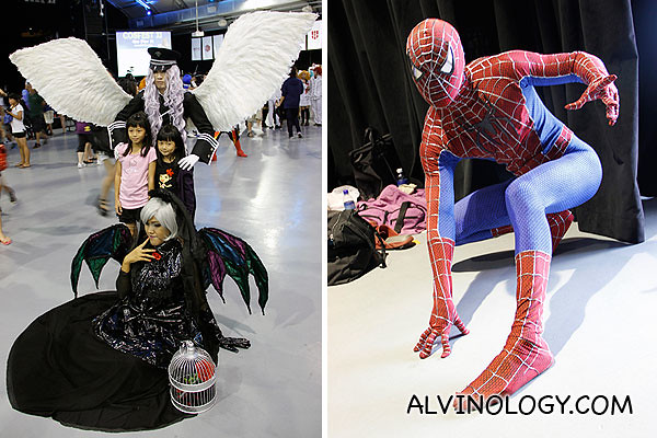 Left: Cosplayers with wings; Right: Spiderman