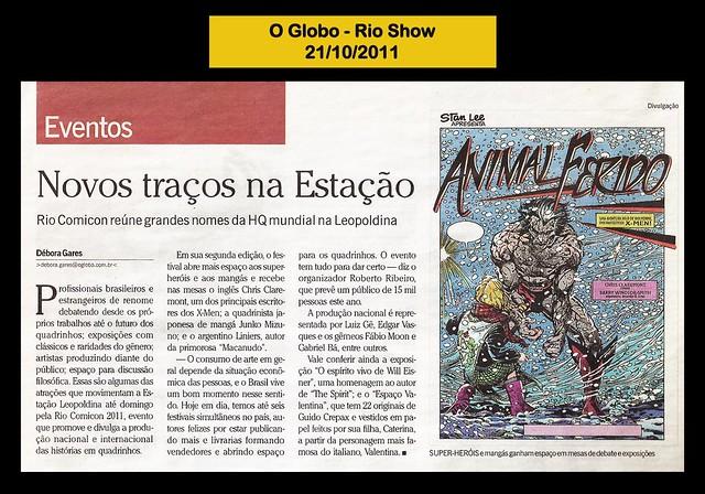"""""""Novos traços na estação"""" - O Globo- 21/10/2011"""