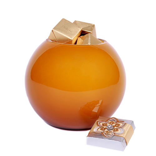 1/2 pound of chocolate in this amber vase by Patchi