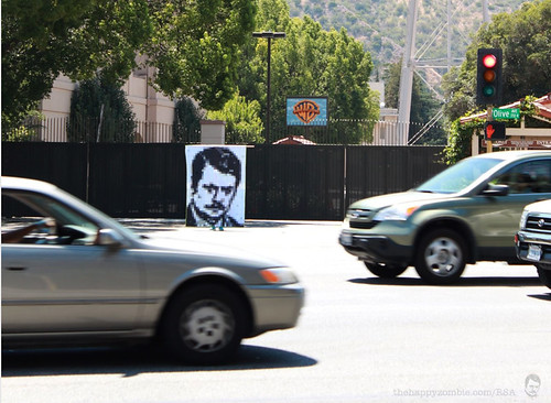 Ron Swanson quilt along - playing Frogger at Warner Bros.