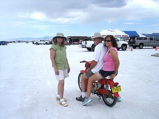 Speed week @ Bonneville 2012 Karyn,Donna, Chuck, Honda C100,