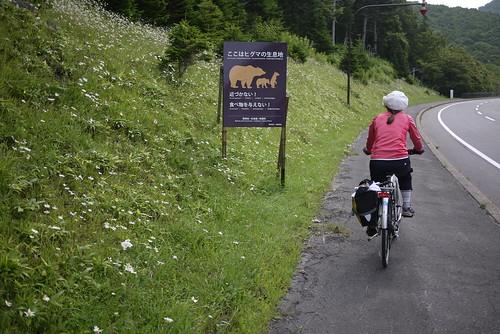 Bear warning signs on the Shiretoko Highway (Hokkaido, Japan)