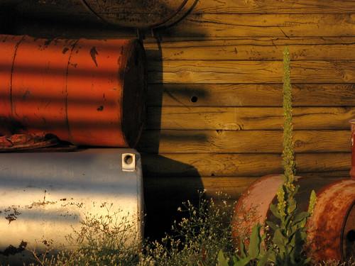wood metal weed tank drum barrel shed