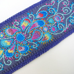 Purple Paisley Embroidered Wide Felt Cuff with Ombre Color Shading