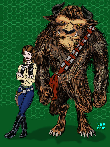 Belle and Beast as Han and Chewy -iPad sketch