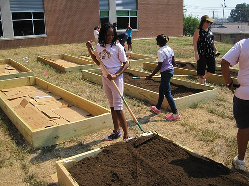 Students at  Barack Obama Elementary School, near St. Louis, learn about healthy food choices through gardening.