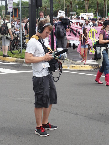 Eric Mennel, from WUSF, covering Coalition March on the RNC