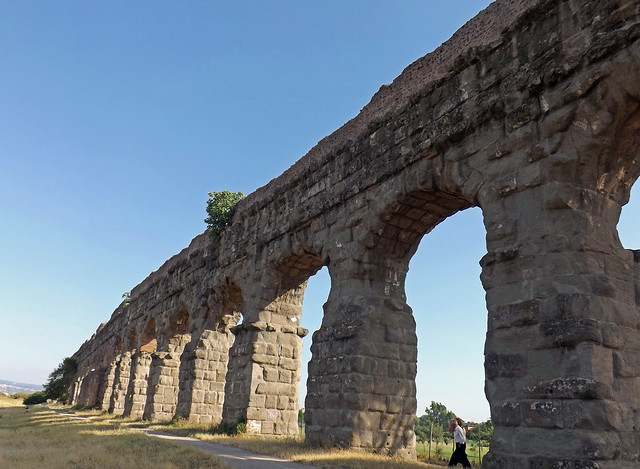 Detail of the Aqua Claudia and Anio Novus in the Park of the Aqueducts in Rome, June 2012