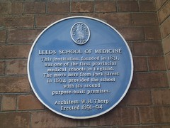 Photo of Leeds School of Medicine and W. H. Thorp blue plaque