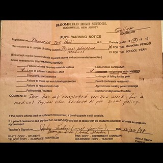 "Broke my leg - got in trouble for   ""lack of interest in gym class"" - parents were proud and framed this... #BloomfieldHighSchool #cantteach?teachgym"