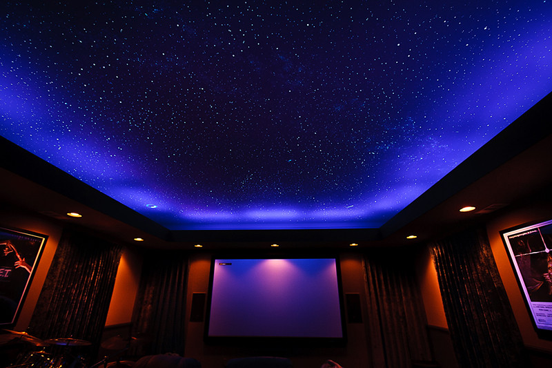 California Home Theater Room With Black Lights On And Sta Flickr