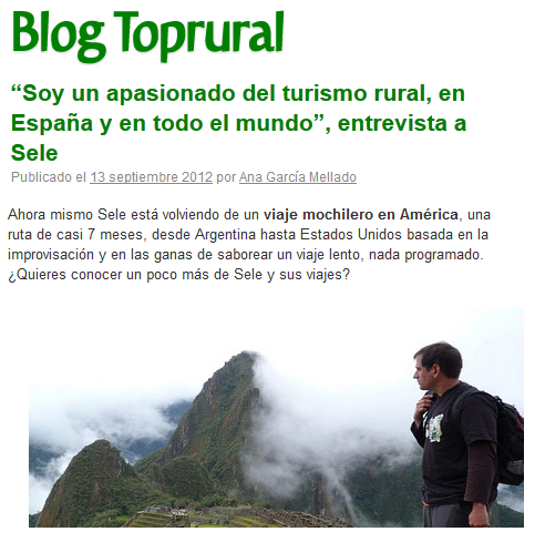 Lee la entrevista en Top Rural
