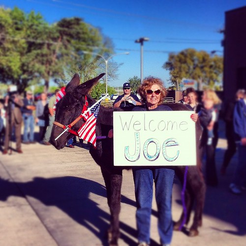 Mary and her donkey are fired up and ready to welcome @JoeBiden to Ottumwa! #BidenIA
