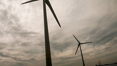 machine, cloud, windmill, line, wind, wind farm, wind turbine, sky,