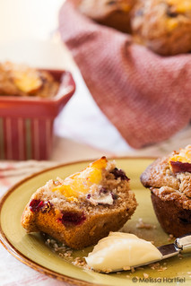 blueberry peach coconut muffins