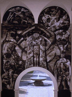 "Rico Lebrun's ""Genesis"" mural above the entry to Frary Dining Hall."