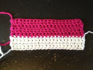 Half-double crochet swatch (pink)