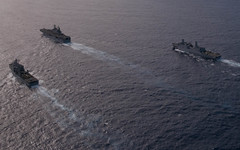 In this file photo, the Peleliu Amphibious Ready Group (ARG), with the 15th Marine Expeditionary Unit (MEU) embarked, transits in formation in the Pacific Ocean, Sept. 22. Sailors and Marines from the ARG and MEU will participate in Exercise Crocodilo. (U.S. Navy photo by Mass Communication Specialist 3rd Class Derek Stroop)