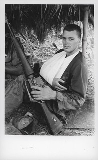 Tommy Gribble Displays His M-16 Rifle, 6 September 1968