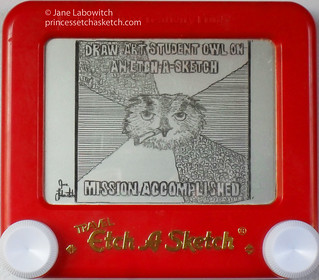 art student owl etch a sketch