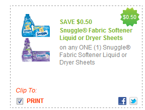 $0.50/1 Snuggle Fabric Softener Liquid Or Dryer Sheets Coupon
