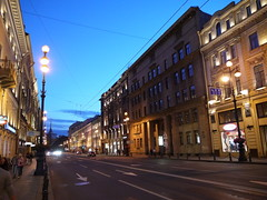 Along Nevsky Prospect on a white night