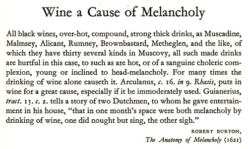 Eating and Drinking - wine a cause of melancholy