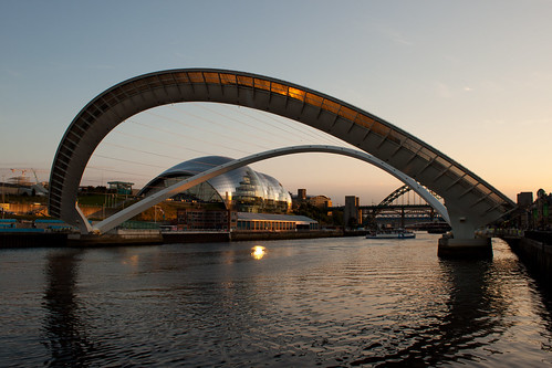 uk bridge sunset england river newcastle sage tyne millennium gateshead quayside