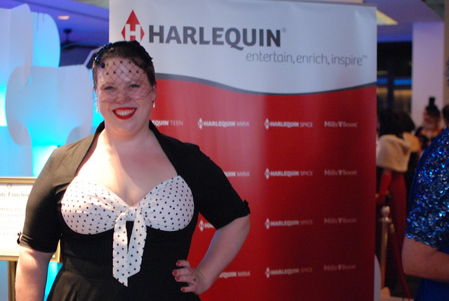 Kate Cuthbert at the Harlequin cocktail party