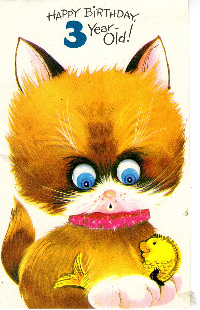 Big Eyed Kitten Birthday Card For Three 3 Year Old Child 1960s