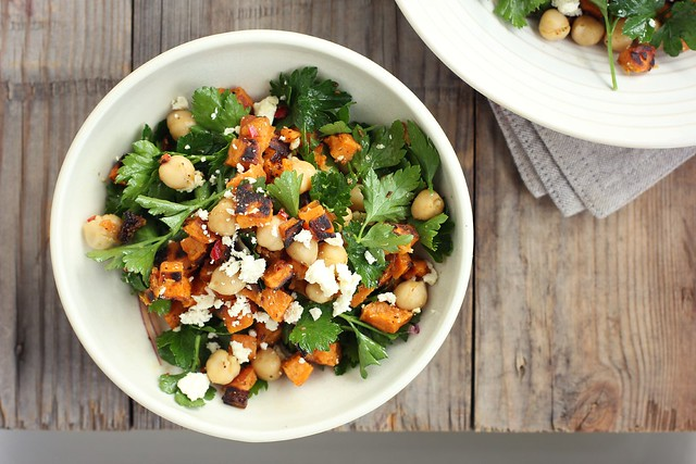 roast kumara, chickpea + feta salad w/ spiced lemon dressing