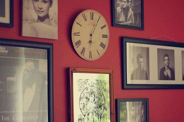 Wardrobeblock : Mis-match frames black and white photography film stars movies french clock art deco mirror